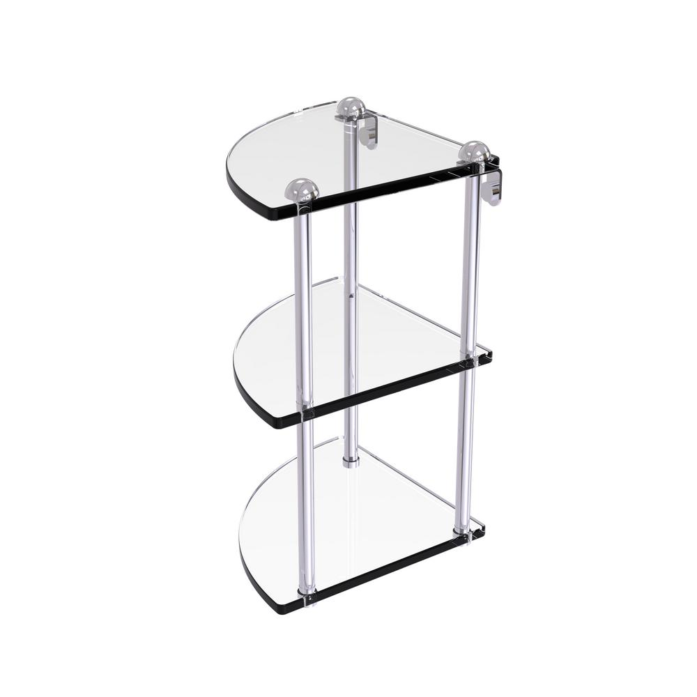 8 in. 3-Tier Corner Glass Shelf in Polished Chrome