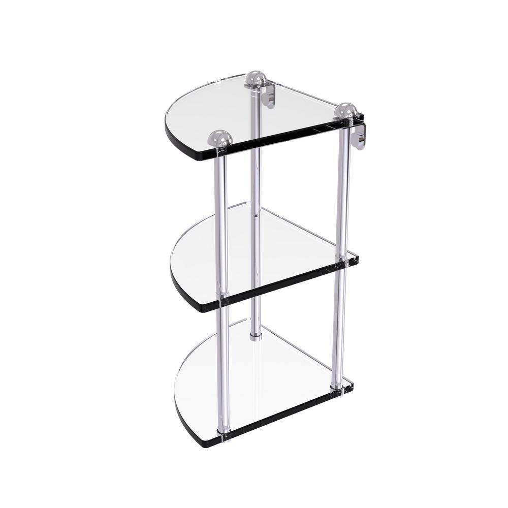 8 in. 3-Tier Corner Glass Shelf in Polished Chrome