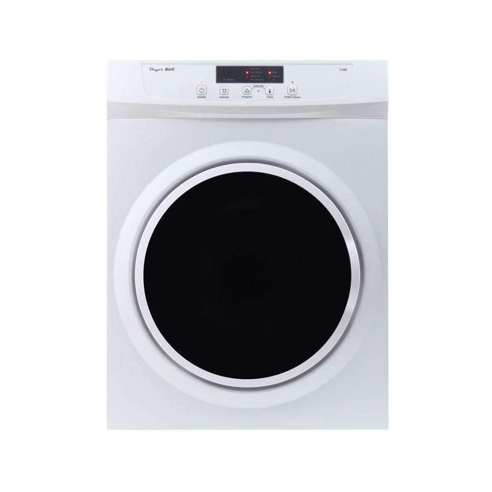 compact standard electric dryer with sensor dry in white with