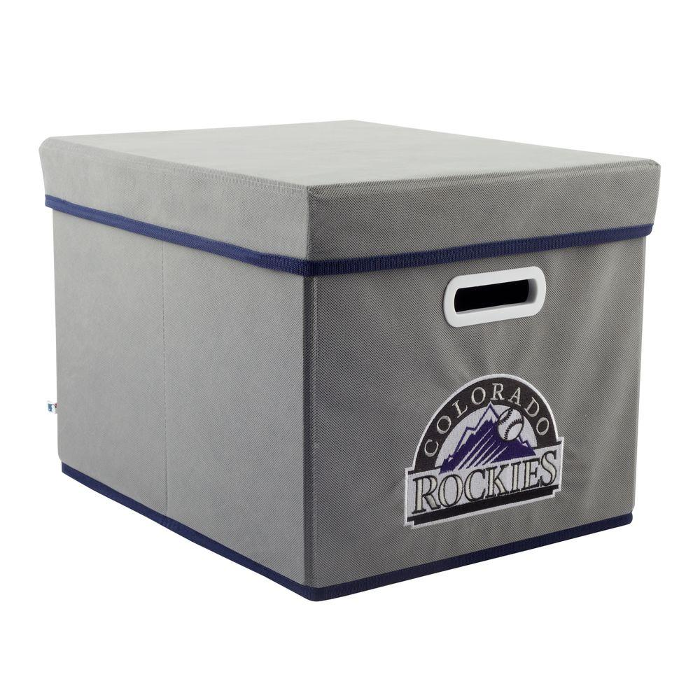 MyOwnersBox MLB STACKITS Colorado Rockies 12 in. x 10 in. x 15 in. Stackable Grey Fabric Storage Cube