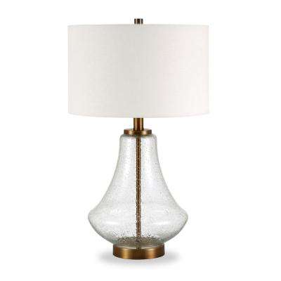 Lagos 23 in. Table Lamp in Brushed Brass and Seeded Glass with Flax Shade