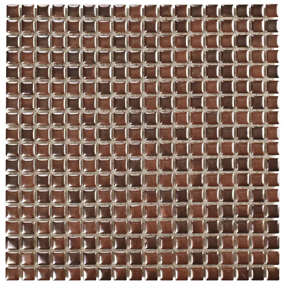 Rustica Mini Tetsu Ore Antique Copper 12 in. x 12 in. x 8 mm Porcelain Mosaic Tile