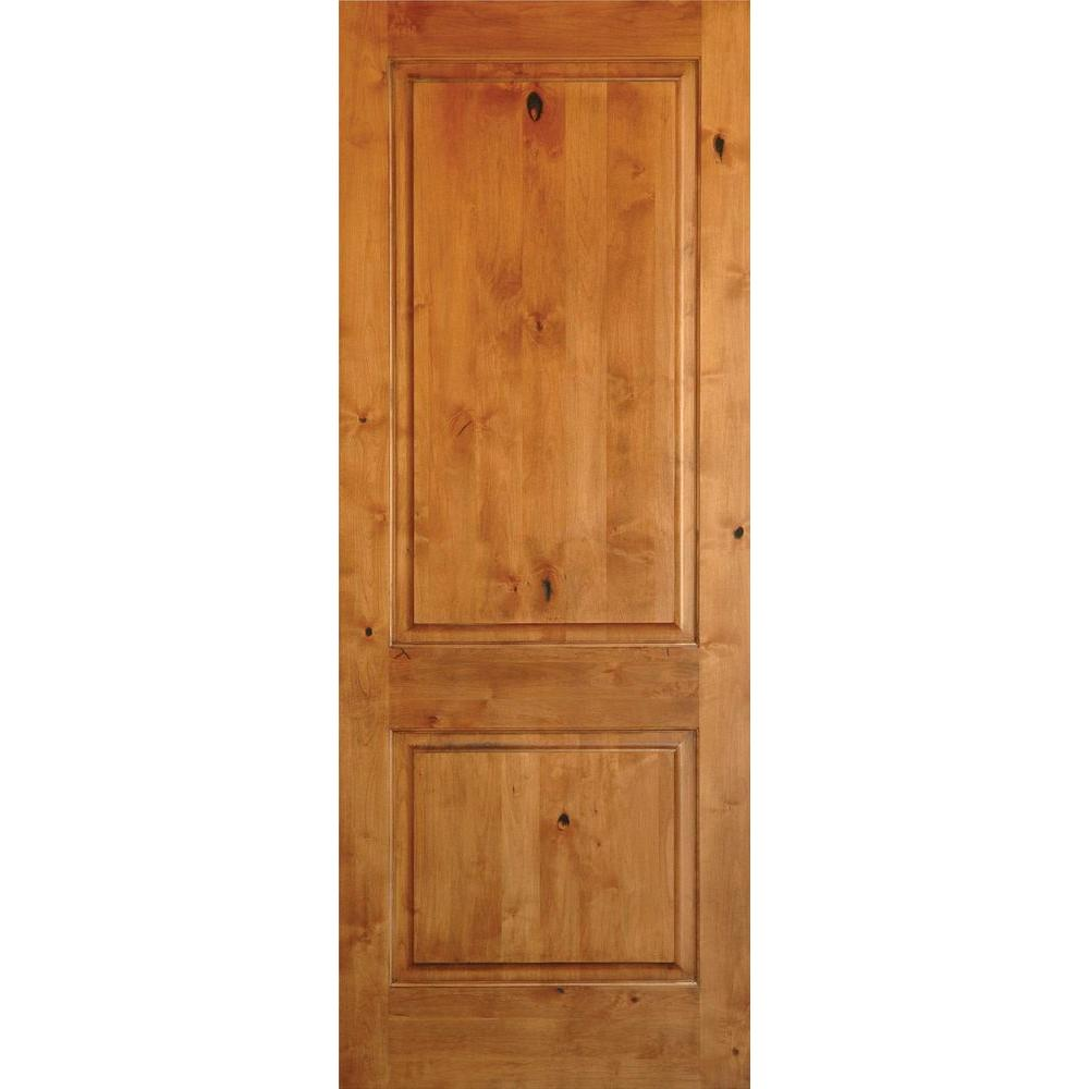 Bon Krosswood Doors 36 In. X 80 In. Rustic Knotty Alder 2 Panel Square Top  Left Hand Unfinished Solid Wood Exterior Prehung Front Door  PHED.KA.300.30.68.134.