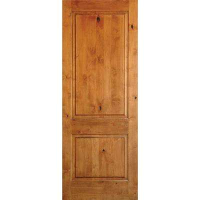 36 in. x 96 in. Rustic Knotty Alder 2 Panel Square Top Solid Wood Right-Hand Single Prehung Interior Door