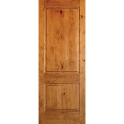 36 in. x 80 in. Rustic Knotty Alder 2-Panel Square Top Unfinished Wood Front Door Slab