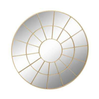 48 in. x 48 in Circular Paneled Golden Wall Mirror