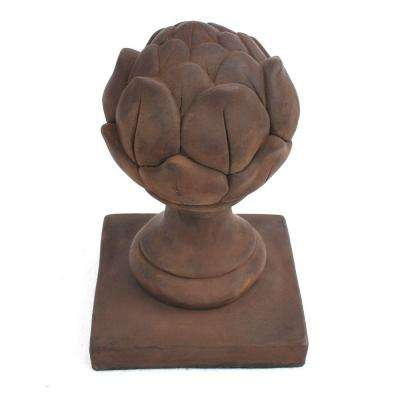Cast Stone Artichoke Finial Dark Walnut