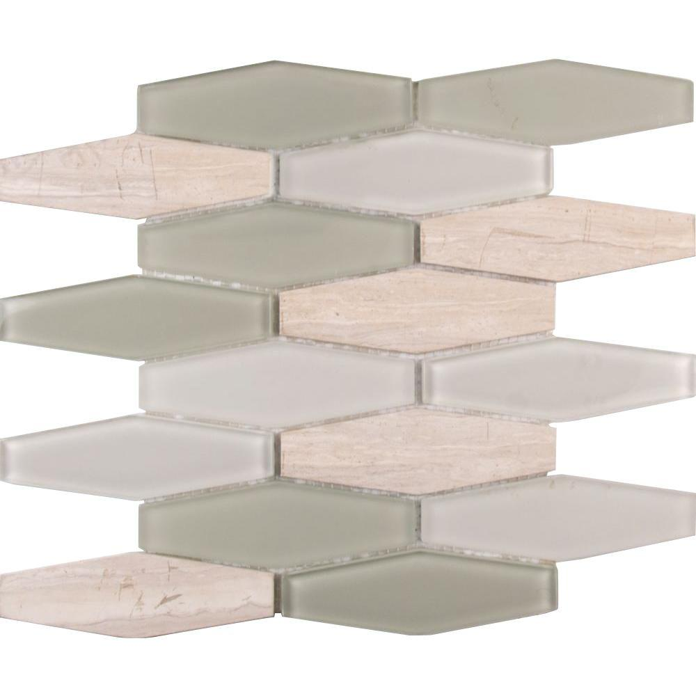 Msi Europa Elongated Hexagon 12 In X 8mm Gl And Stone Mesh Mounted Mosaic Tile 10 Sq Ft Case Sgls Europa8mm The Home Depot
