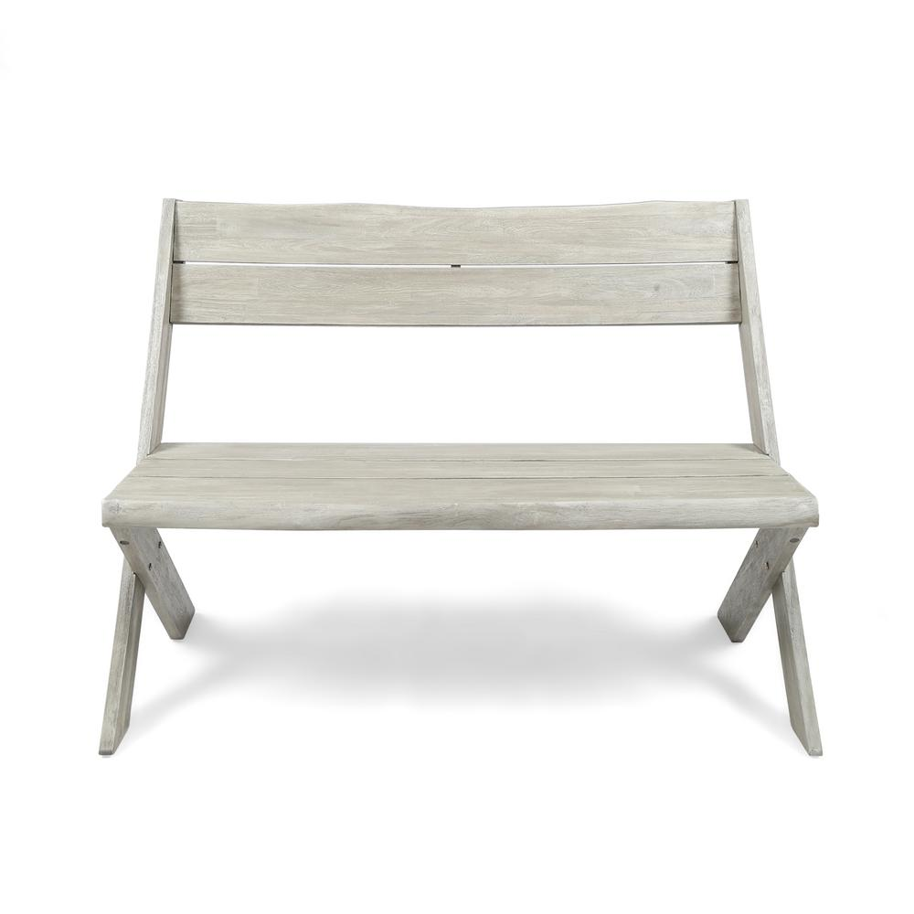 Remarkable Noble House Eaglewood 2 Person Light Gray Wood Outdoor Bench Caraccident5 Cool Chair Designs And Ideas Caraccident5Info