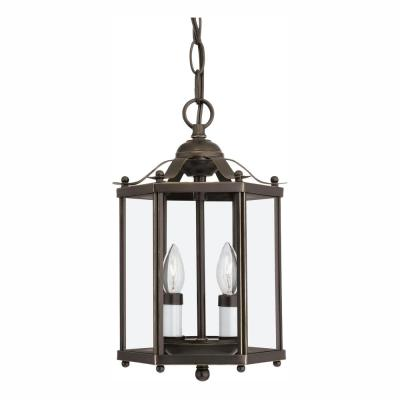 Bretton 2-Light Heirloom Bronze Semi-Flush Mount Convertible Pendant with Dimmable Candelabra LED Bulbs