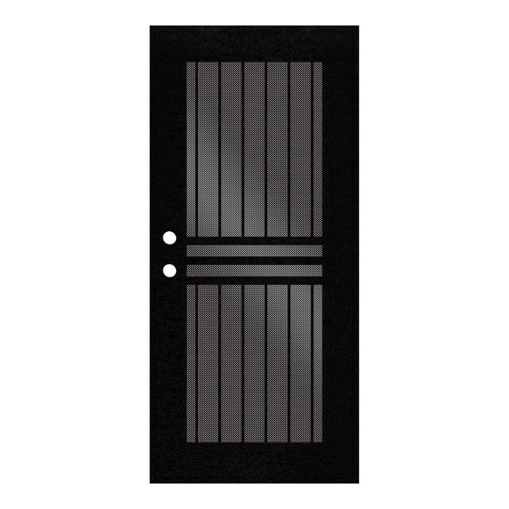 Unique Home Designs 30 in. x 80 in. Plain Bar Black Right-Hand Surface Mount Aluminum Security Door with Black Perforated Screen