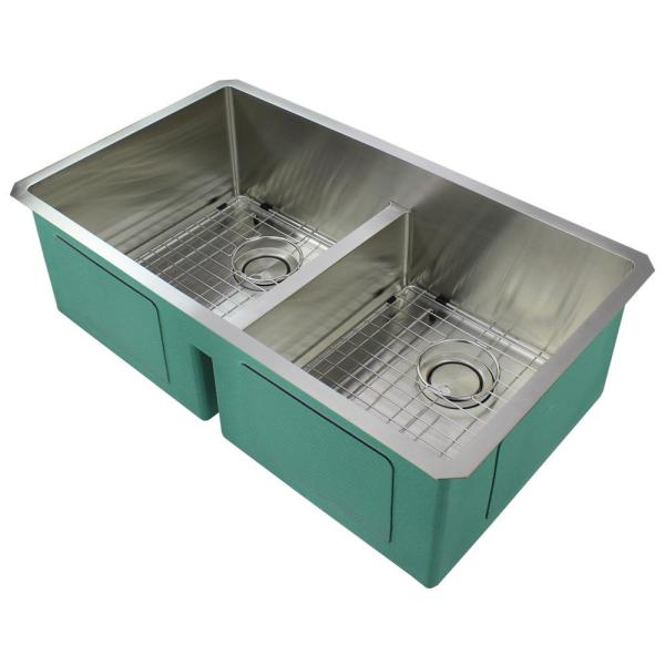 Diamond Undermount Stainless Steel 33 in. Equal Double Bowl Kitchen Sink in Brushed Finish