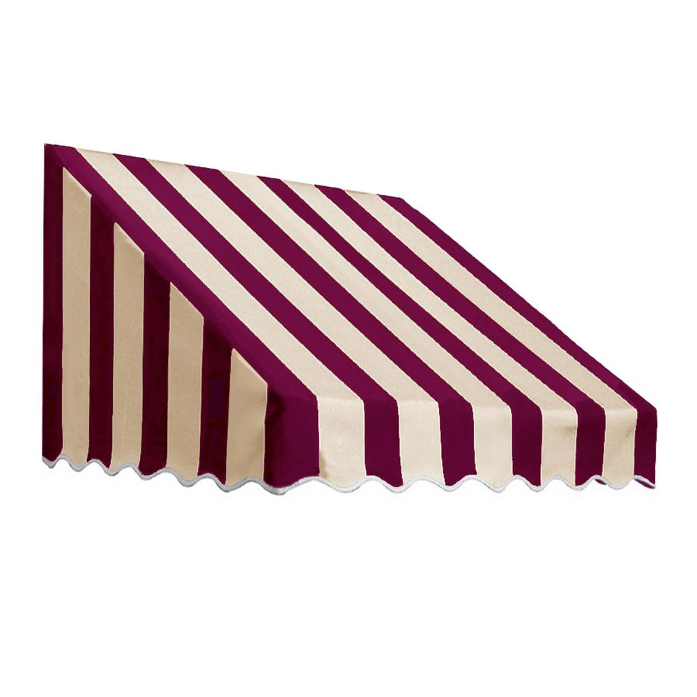 AWNTECH 10.38 ft. Wide San Francisco Window/Entry Awning (18 in. H x 36 in. D) Burgundy/Tan