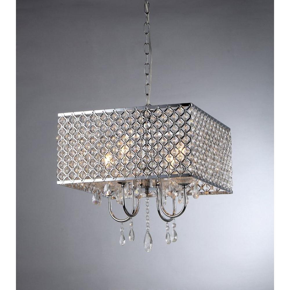 Warehouse Of Tiffany Zarah 4 Light Chrome Crystal Chandelier With Shade