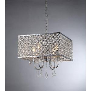 Click here to buy Warehouse of Tiffany Zarah 4-Light Chrome Crystal Chandelier with Shade by Warehouse of Tiffany.
