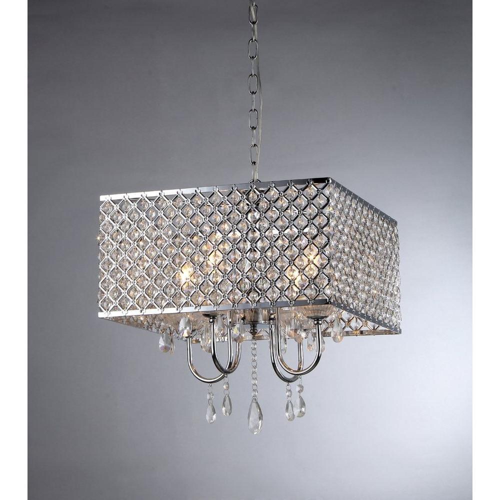 Warehouse of Tiffany Zarah 4-Light Chrome Crystal Chandelier with Shade by Warehouse of Tiffany