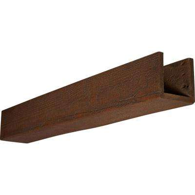 6 in. x 4 in. x 14 ft. 3-Sided (U-Beam) Rough Sawn Pecan Faux Wood Beam