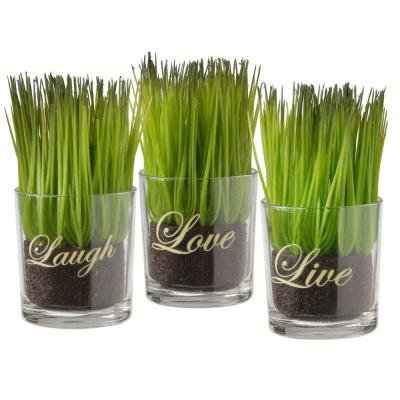 Assortment-Small Glass Cup Printed Live, Laugh and Love (Set of 3)