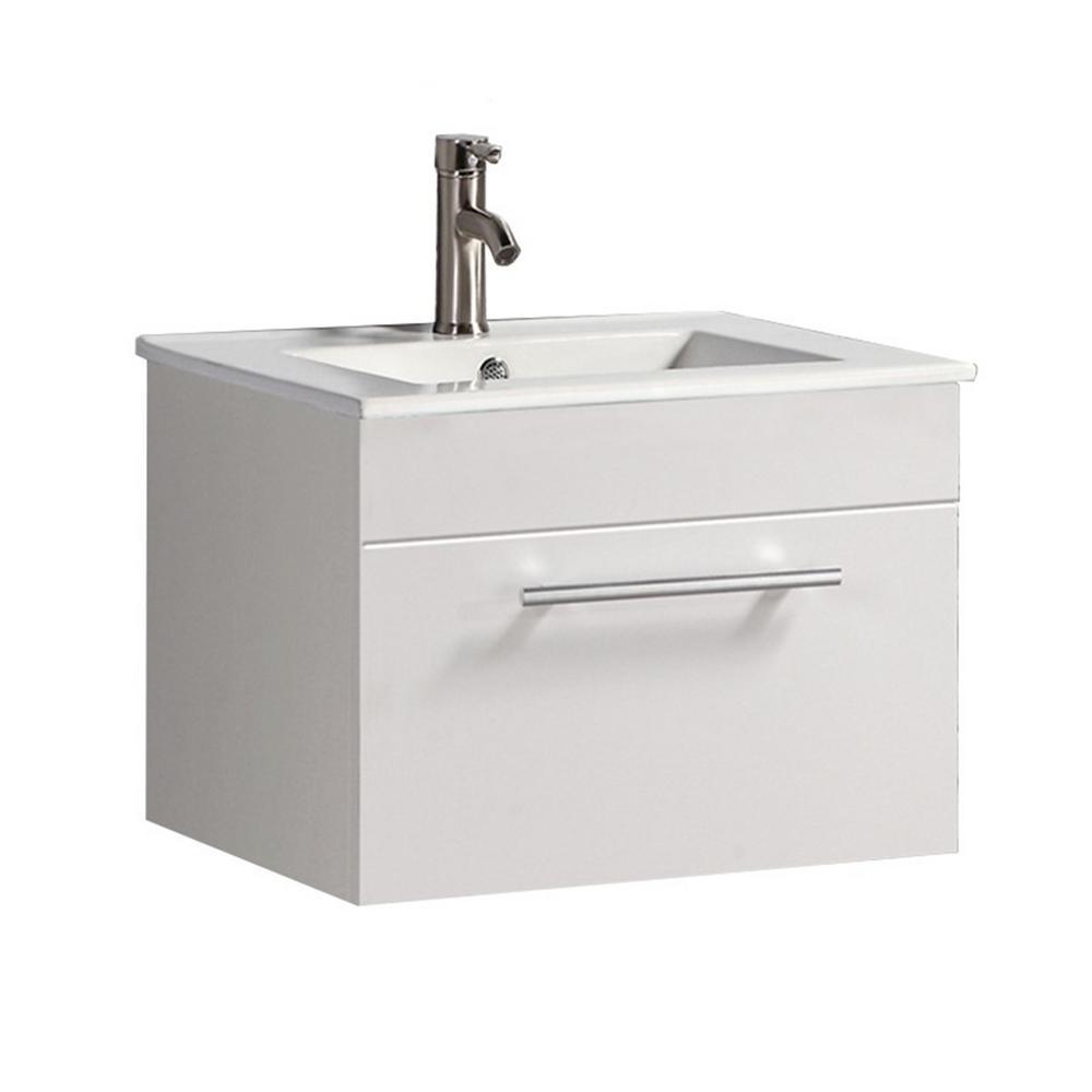 Nova 24 in. W x 18 in. D x 20 in. H Floating Bath Vanity in White with Ceramic Vanity Top in White with White Basin