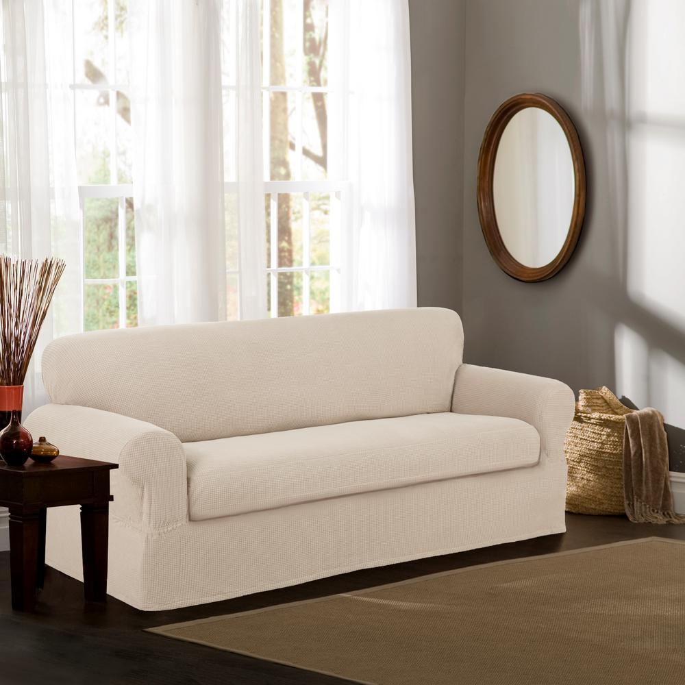 Maytex Reeves Stretch 2 Piece Natural Sofa Slipcover 4100801jnat