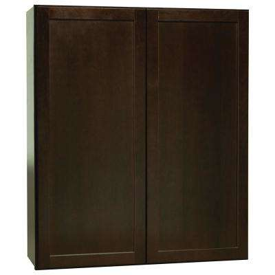 Shaker Assembled 36x42x12 in. Wall Kitchen Cabinet in Java
