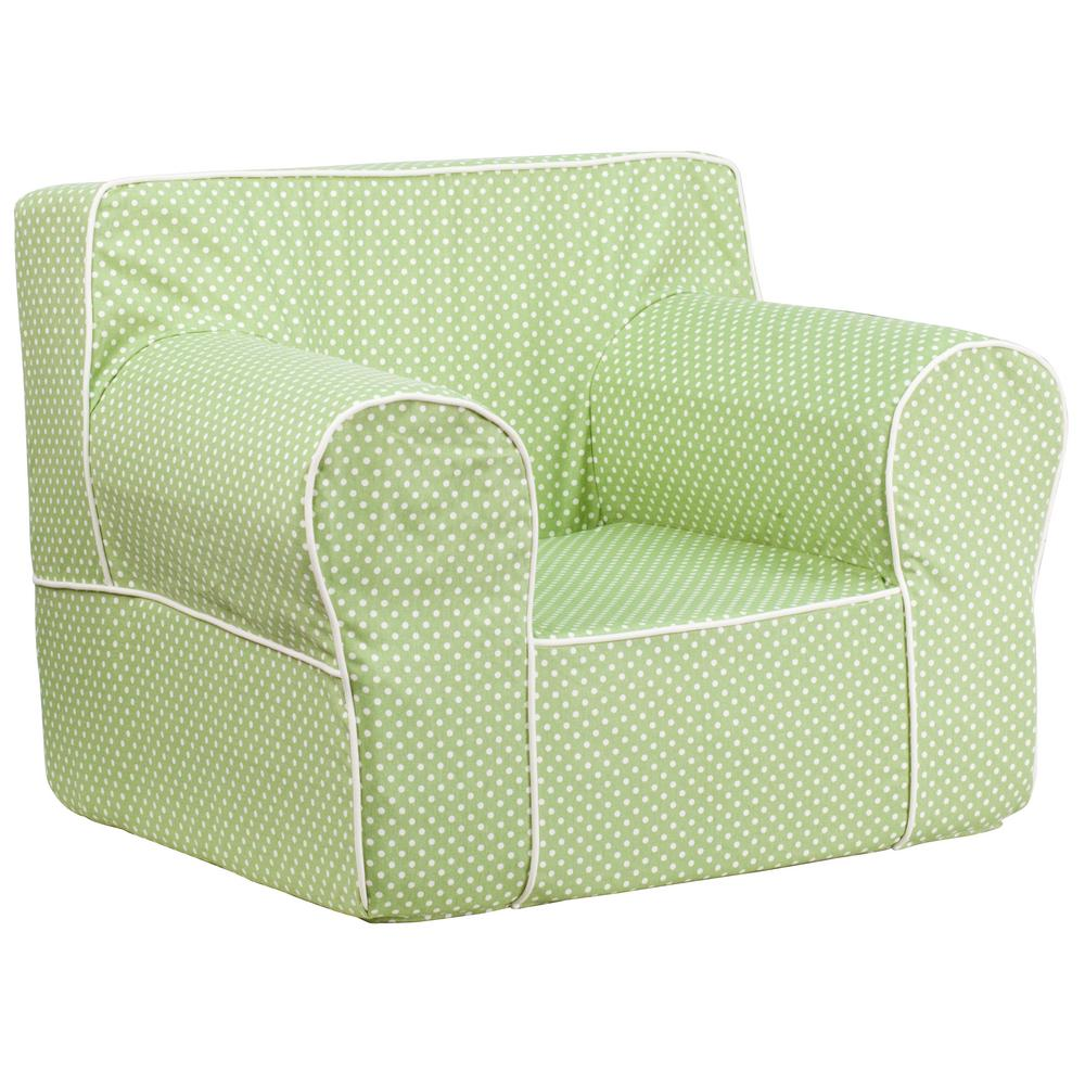 Flash Furniture Oversized Green Dot Kids Chair With White  Piping DGLGCHKIDDTGN   The Home Depot