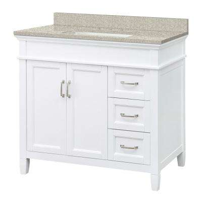 Ashburn 37 in. W x 22 in. D Vanity in White with Engineered Vanity Top in Sedona with White Sink