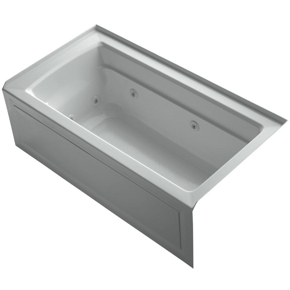 Archer 5 ft. Right-Drain Rectangular Alcove Whirlpool Bathtub in Ice Grey