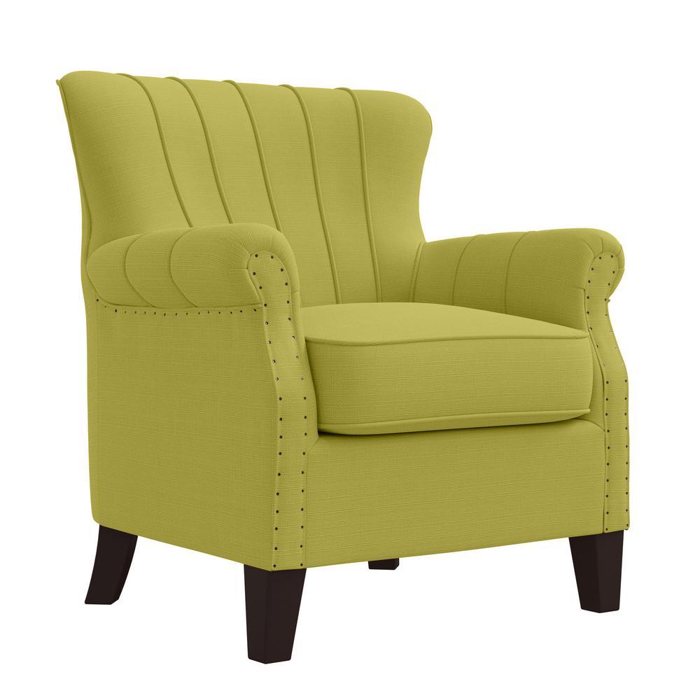 Jeanne Arm Chair in Kiwi Green Linen-like Fabric