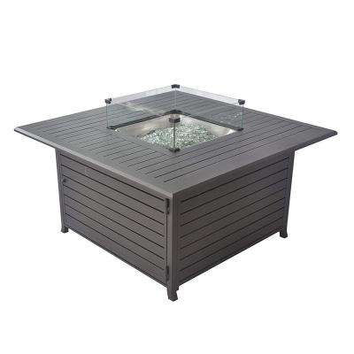 44in Square Fire Table with Glass Wind Guard, Cover and Table Lid in Bronze Finish