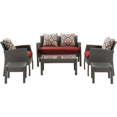 Chelsea 6-Piece All-Weather Wicker Patio Seating Set with Crimson Red Cushions