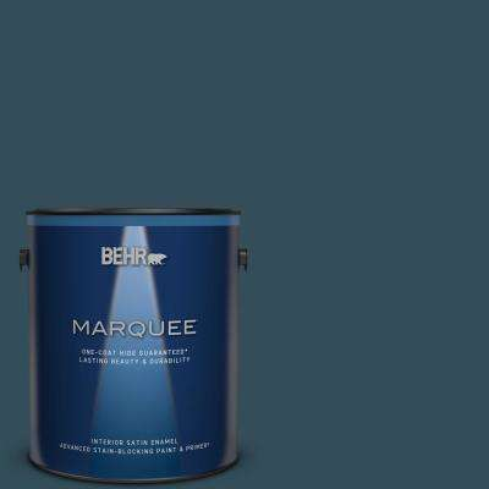 1 gal. Home Decorators Collection #HDC-CL-28 Nocturne Blue Satin Enamel Interior Paint and Primer