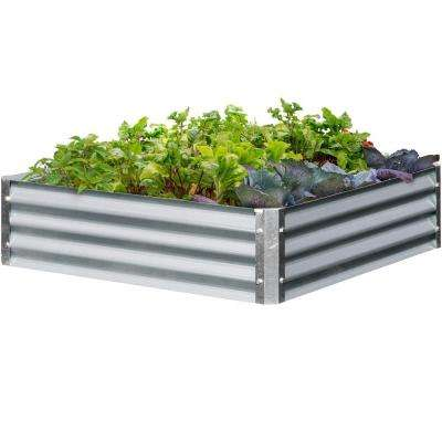 Bajo Series 40 in. x 40 in. x 10 in. Square - Galvanized Metal Raised Garden Bed