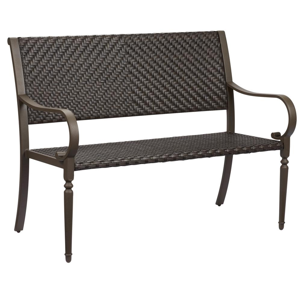 Hampton bay commack brown wicker outdoor bench for Outdoor furniture benches