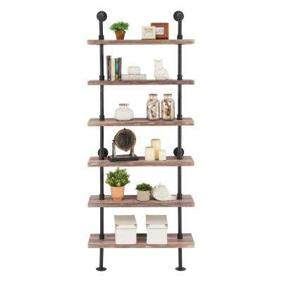 10 in. X 32 in. X 78  6 Tier Brown Distressed Wood Finish Decorative Wall Shelf