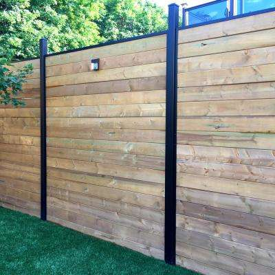1-1/4 in. x 1-1/4 in. x 5-5/6 ft. Black Aluminum Fence Rail