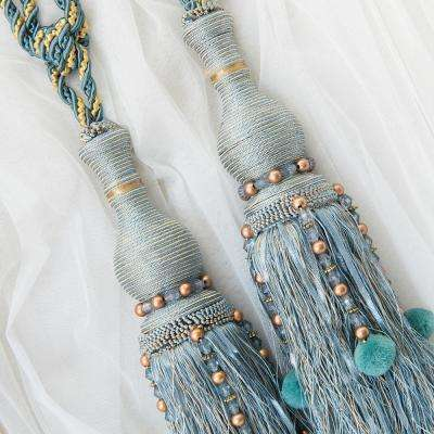 Handcrafted 25 in. L Tassel Knit Curtain Tieback in Blue (2-Pack)