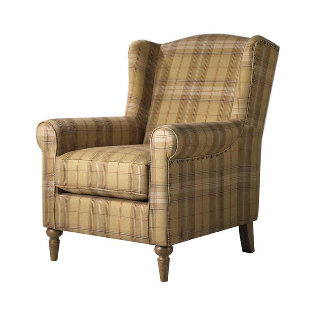 Home Decorators Collection Collins Plaid Chair in Brown/Tan