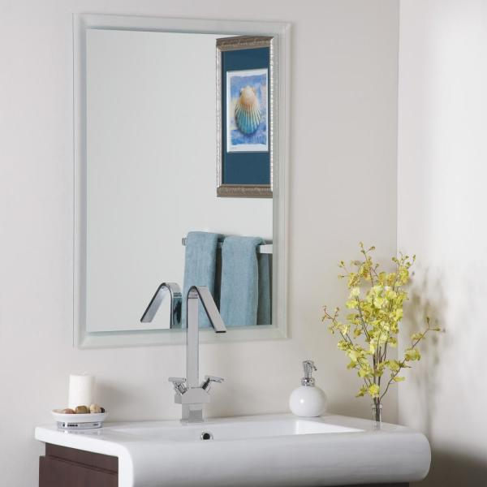 24 in. W x 32 in. H Frameless Rectangular Beveled Edge Bathroom Vanity Mirror in Silve