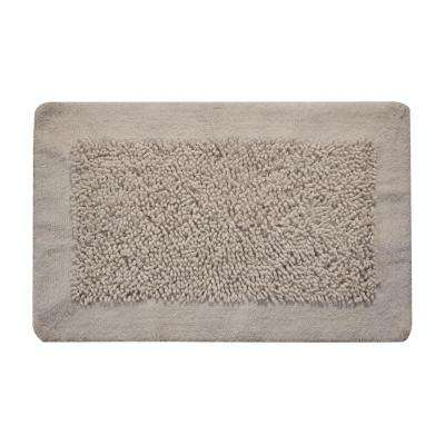 Bath Rug Cotton and Chenille 34 in. x 21 in. in. Latex Spray Non-Skid Backing White Color Long Noodle Loop Pattern