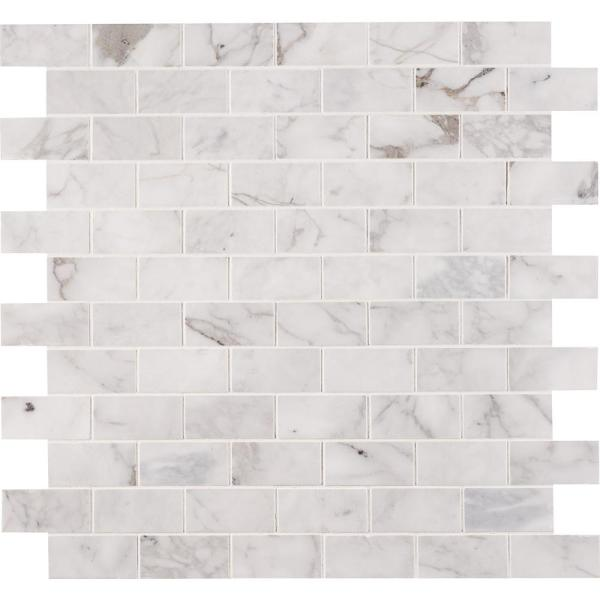 Msi Calacatta Cressa 12 In X 12 In X 10 Mm Honed Marble Mesh Mounted Mosaic Tile 9 8 Sq Ft Case Calcre 2x4h The Home Depot