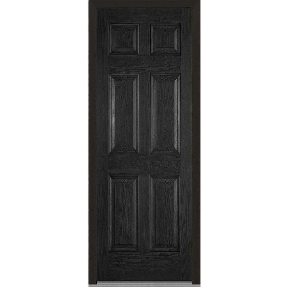 36 in. x 96 in. Left-Hand Inswing 6-Panel Classic Stained Fiberglass Oak Prehung Front Door