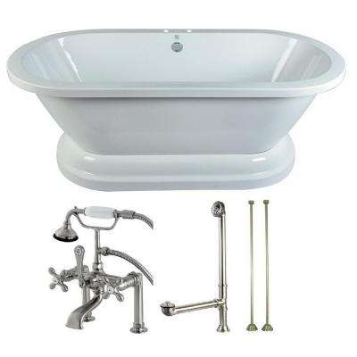Pedestal 67 in. Acrylic Flatbottom Bathtub in White and Faucet Combo in Brushed Nickel