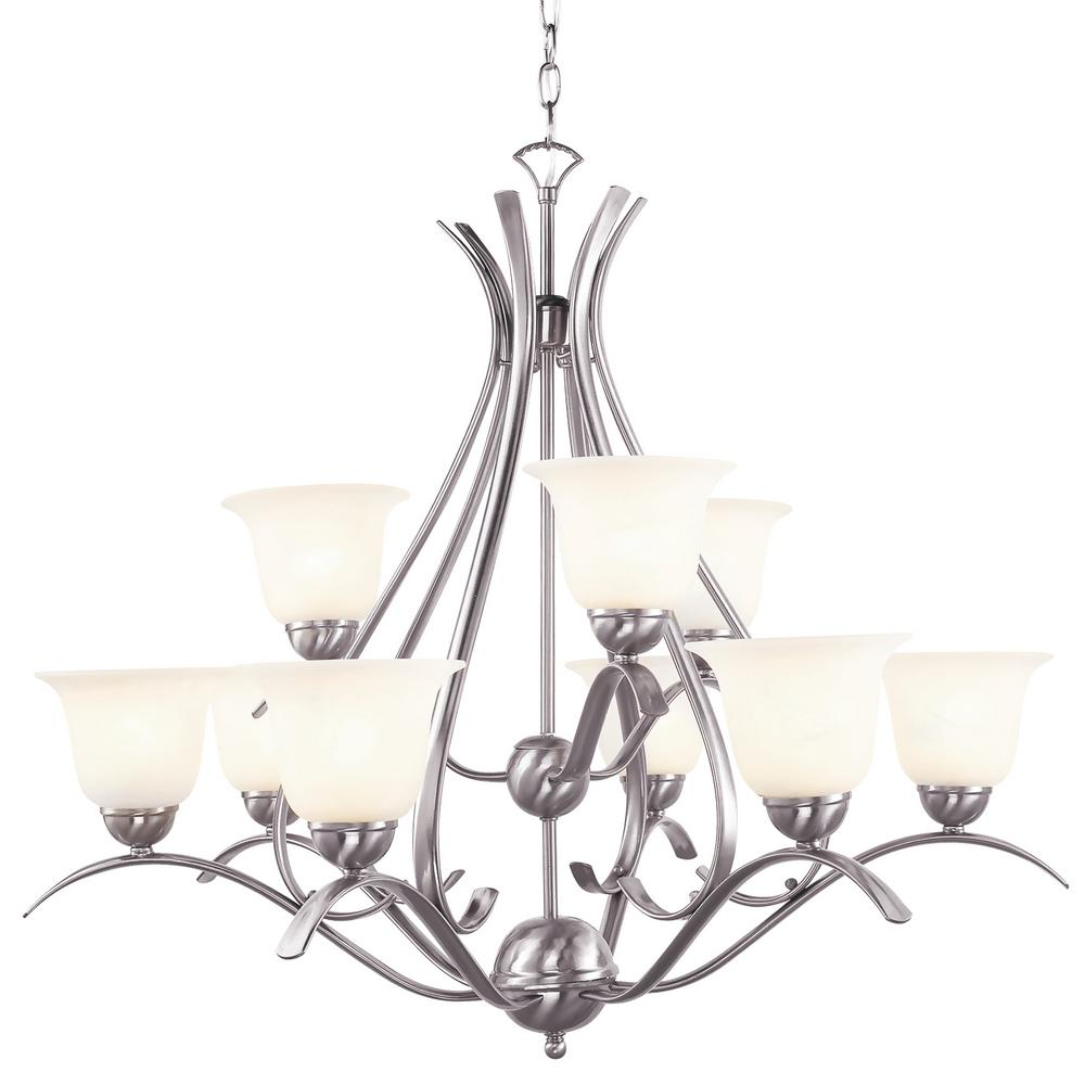 Bel Air Lighting Aspen 9 Light Brushed Nickel Chandelier With Frosted Shades