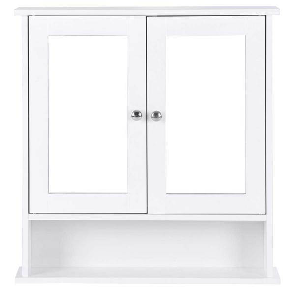 22 in. W Surface Wall Mount Bathroom Wall Cabinet with Double Mirror Doors in White