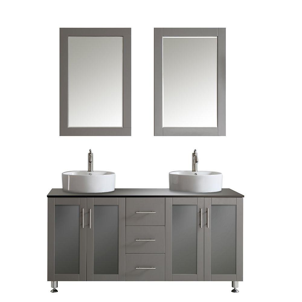 ROSWELL Tuscany 60 in. W x 22 in. D x 30 in. H Vanity in Grey with Glass Vanity Top in Black with White Basin and Mirror