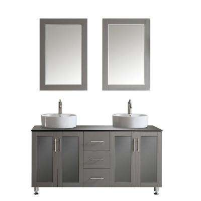 Tuscany 60 in. W x 22 in. D x 30 in. H Vanity in Grey with Glass Vanity Top in Black with White Basin and Mirror