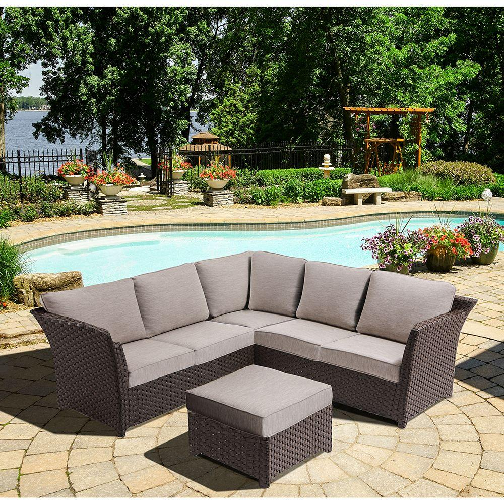 outdoor sectional home depot. OVE Decors Clara 3-Piece Metal Outdoor Sectional Set With Beige Cushions Home Depot