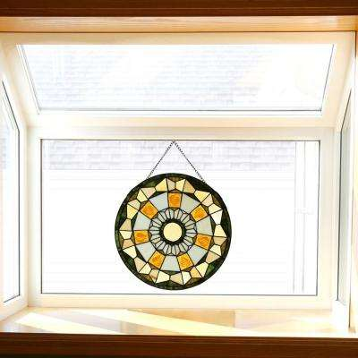 Stained Glass Golden Leaves Window Panel