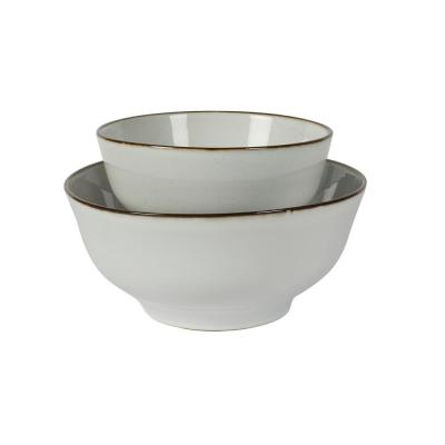 Geneva 10 in. and 8 in. White Stoneware Nesting Serving Bowl Platter Set with Brown Rim (2-Piece)